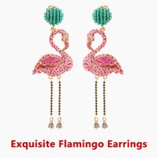 pink, Tassels, DIAMOND, flamingoearring
