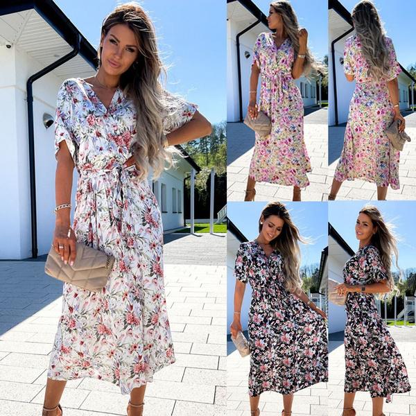 women dress, Fashion, Floral print, Sleeve