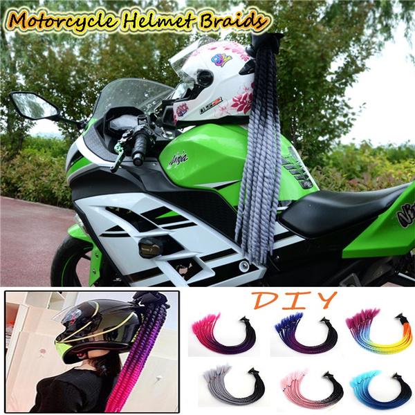 helmetbraid, helmetdecoration, motorcyclehelmetbraid, colorwig