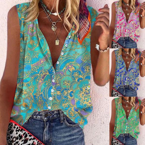 buttontop, Shirt, Tops, printedvest