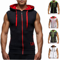 sportsvest, Vest, Outdoor, sleevelesshoodiemenzipup