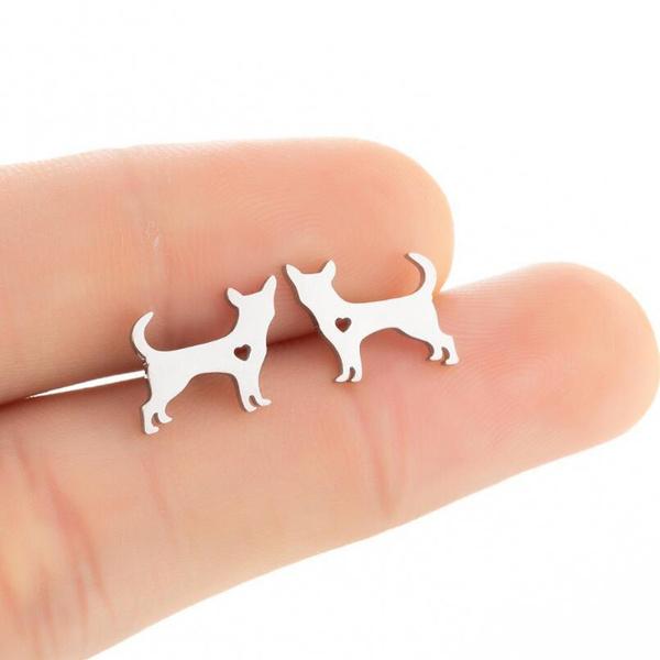cute, dogearring, stainless steel earrings, Animal