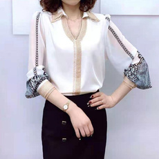Turn-down Collar, Plus Size, Lace, chiffon