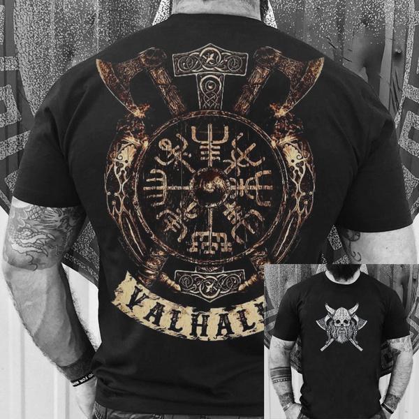 viking, Mens T Shirt, skull, Summer