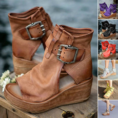 wedge, Sandals, Leather Boots, Womens Shoes