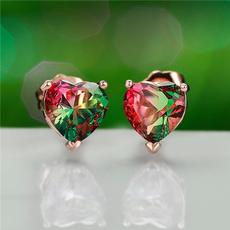 Heart, Jewelry, gold, Stud Earring