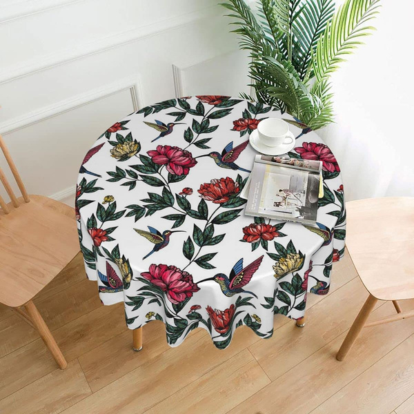 Polyester, Flowers, picnictablecloth, roundtablecloth