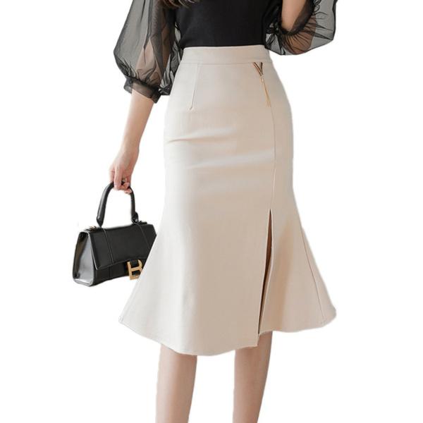 Summer, pencil skirt, ruffle, Office