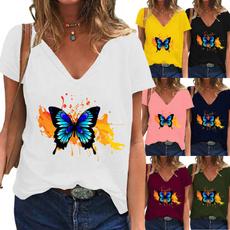butterfly, Summer, Fashion, Deep V-Neck