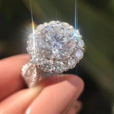 White Gold, DIAMOND, Bridal, 925 silver rings