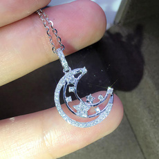925 sterling silver necklace, Sterling, DIAMOND, gold