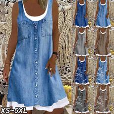 Summer, Plus Size, Necks, long dress