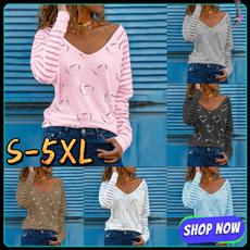 sleeve v-neck, Summer, Plus Size, Love