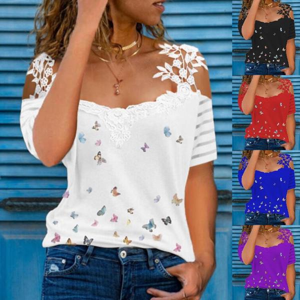 butterfly, shirtsforwomen, Plus Size, Lace