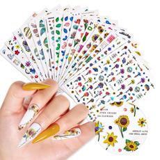 Summer, nail stickers, Flowers, art