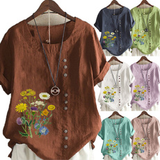 Summer, Plus Size, short sleeves, Floral