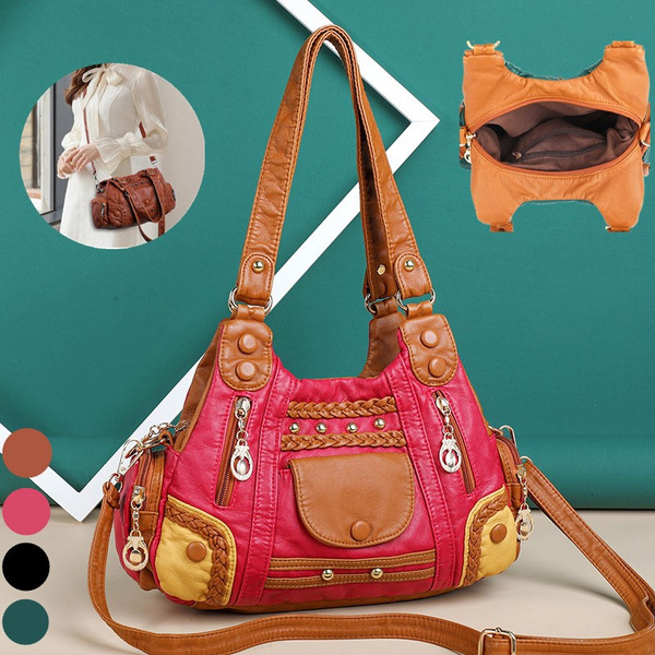 crossbodybagforlady, leather satchel, largecapacitybagforwomen, lady messenger bag