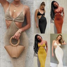 night dress, vestidos femininos, Deep V-neck Dress, slim dress