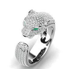 Head, crystal ring, leopardheadring, wedding ring
