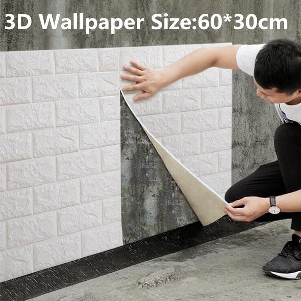 bedroom, Home & Kitchen, 3dbrickwallpaper, wallpapersticker