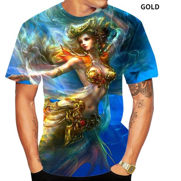 oneckmensshirt, funnytshirtsmen, mermaidprintshirt, Shirt