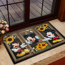 Funny, Sunflowers, doormat, Mouse