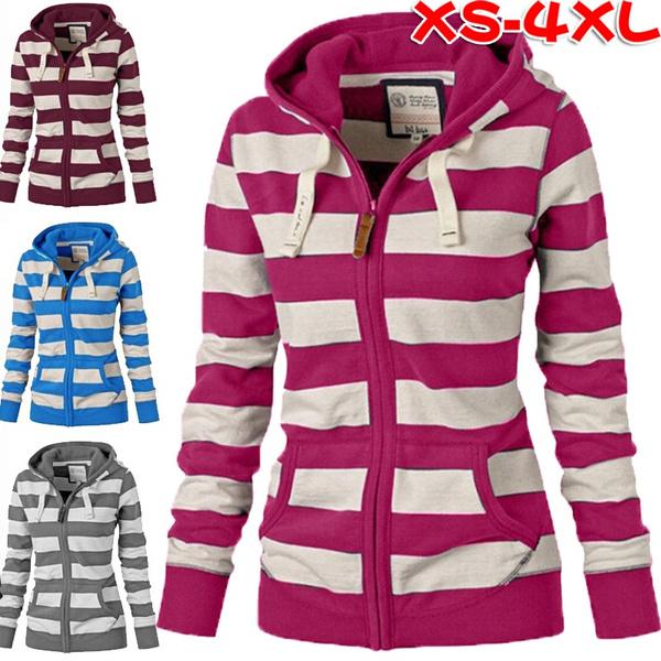 Casual Hoodie, stripedhoodie, Women Hoodie, Women Jacket