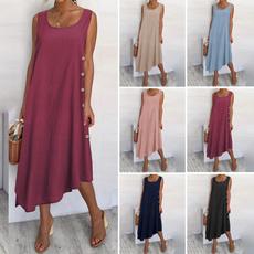 sleeveless, long skirt, Plus Size, cottonlinendres