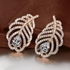Fashion, Rose, gold, wedding earrings