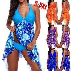 bathing suit, Plus Size, Floral print, Necks