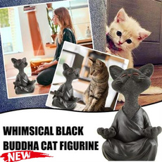 yogacatfigurine, art, Home Decor, zen