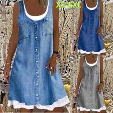 denim dress, Summer, printeddres, Plus Size