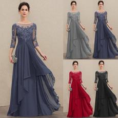 Plus Size, Encaje, chiffon, long dress