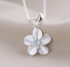 925 sterling silver necklace, clavicle  chain, plumblossompendant, 925necklace