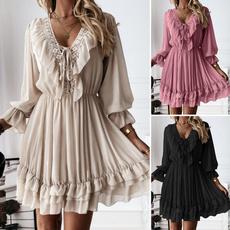Mini, dressesforwomen, pleated dress, Long Sleeve