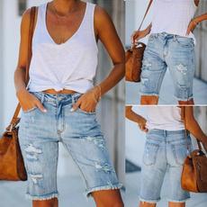 rippedhole, Summer, Shorts, JeansWomen
