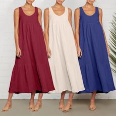 Summer, womens dresses, vest dress, cottonlinendres