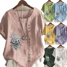 Summer, Plus Size, Graphic T-Shirt, looseblouse