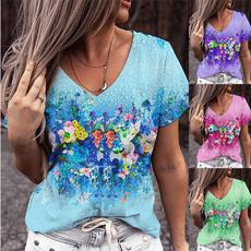 Summer, Plus Size, printed, short sleeves
