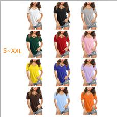 blouse, vneckcrossshortsleevesforwomen, womensshortsleeve, Sleeve