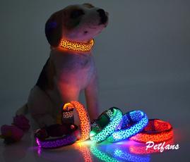 collareluminosoperanimalidomestici, leopardpatternlightemittingcollar, Dog Collar, usb