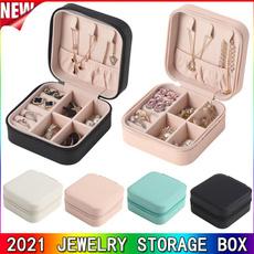 Box, earring organizer, leather, Travel