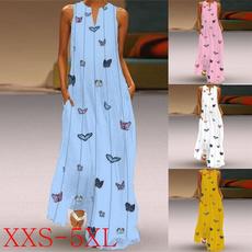 butterfly, V Collar, printeddre, long dress