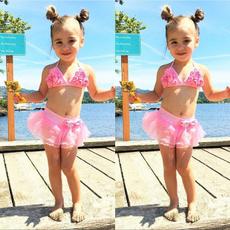 pink, toddlergirl, two piece swimsuit, bikini set