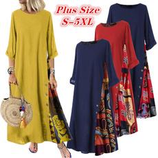 Plus Size, print dress, Sleeve, long dress