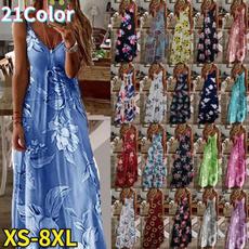Deep V-Neck, Summer, Plus Size, Evening Dress