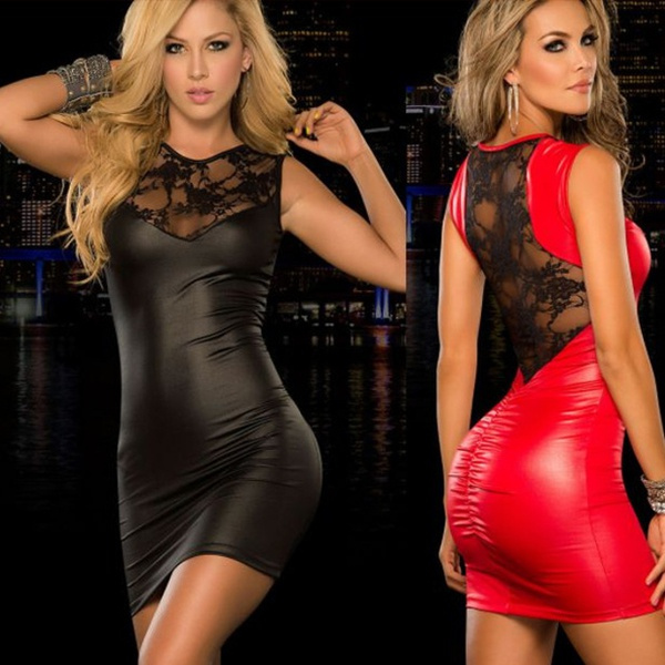 patent leather, sexy dresses, Mini, Party Dresses