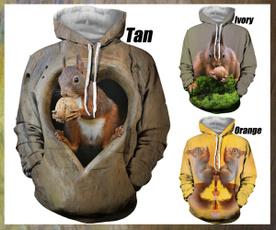 3D hoodies, Fashion, squirrel, Funny hoodie