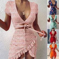 Mini, Summer, Fashion, ruffle