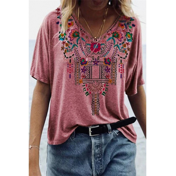 Tops & Tees, Plus Size, Summer, printed shirts